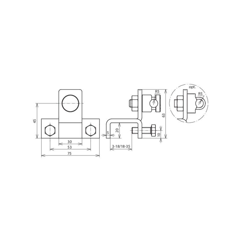 konstruktionsanschlussklemme massiv 4 53. Black Bedroom Furniture Sets. Home Design Ideas